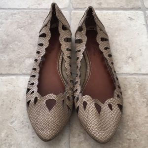 Tan Faux Snakeskin Cutout Pointed Toe Flats